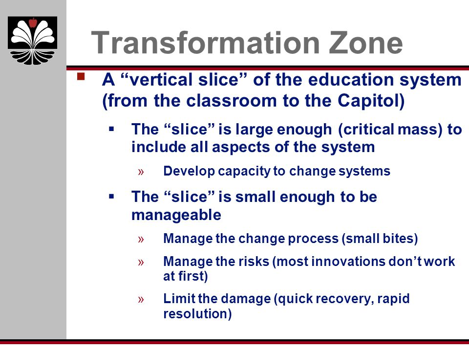 Transformation Zone A vertical slice of the education system (from the classroom to the Capitol)