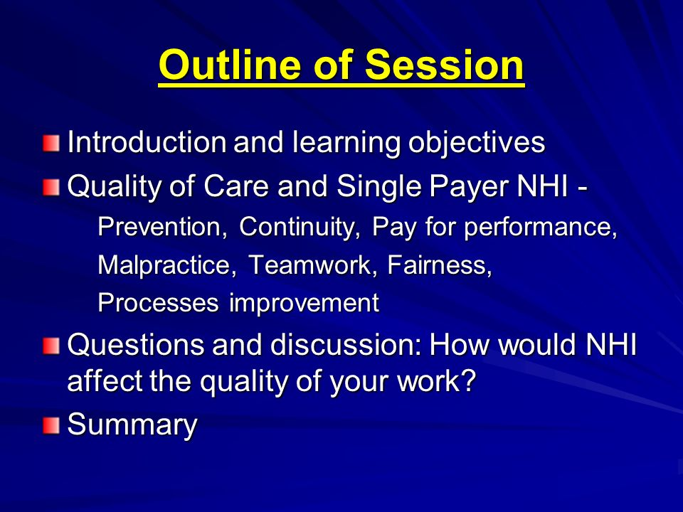 Outline of Session Introduction and learning objectives