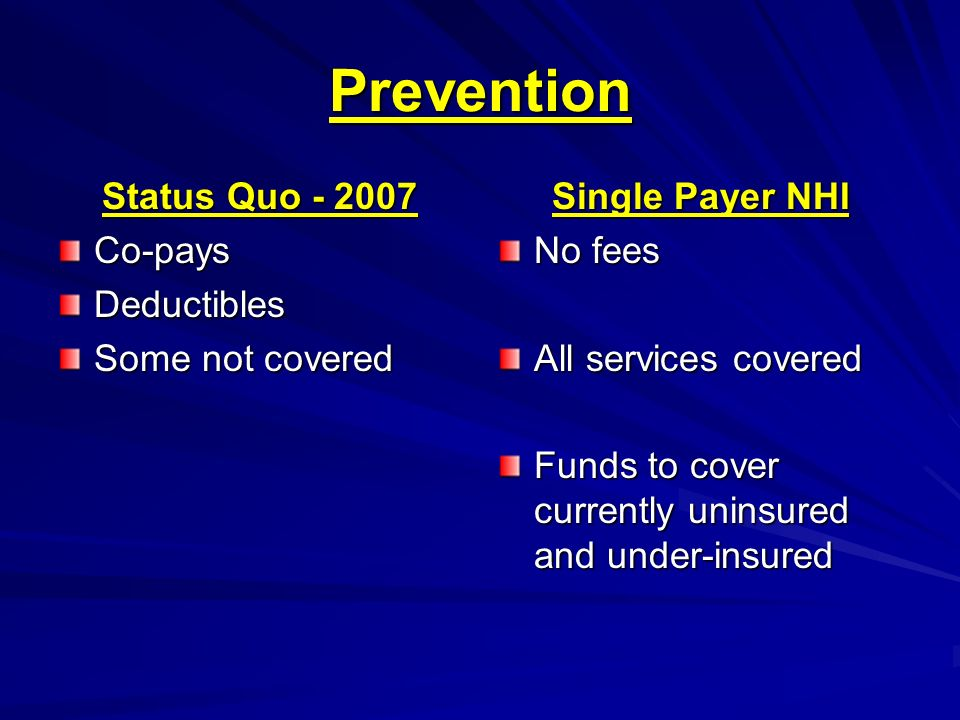 Prevention Status Quo - 2007 Co-pays Deductibles Some not covered