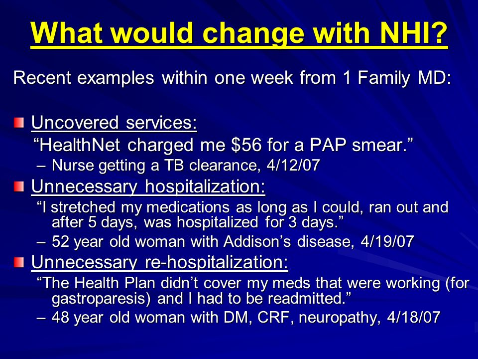 What would change with NHI