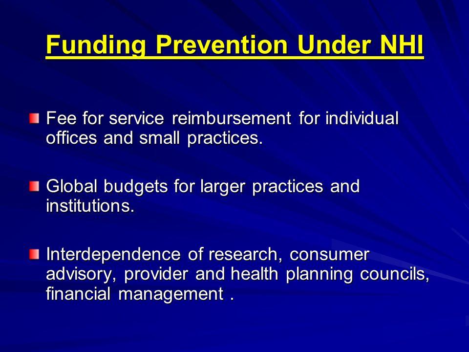 Funding Prevention Under NHI