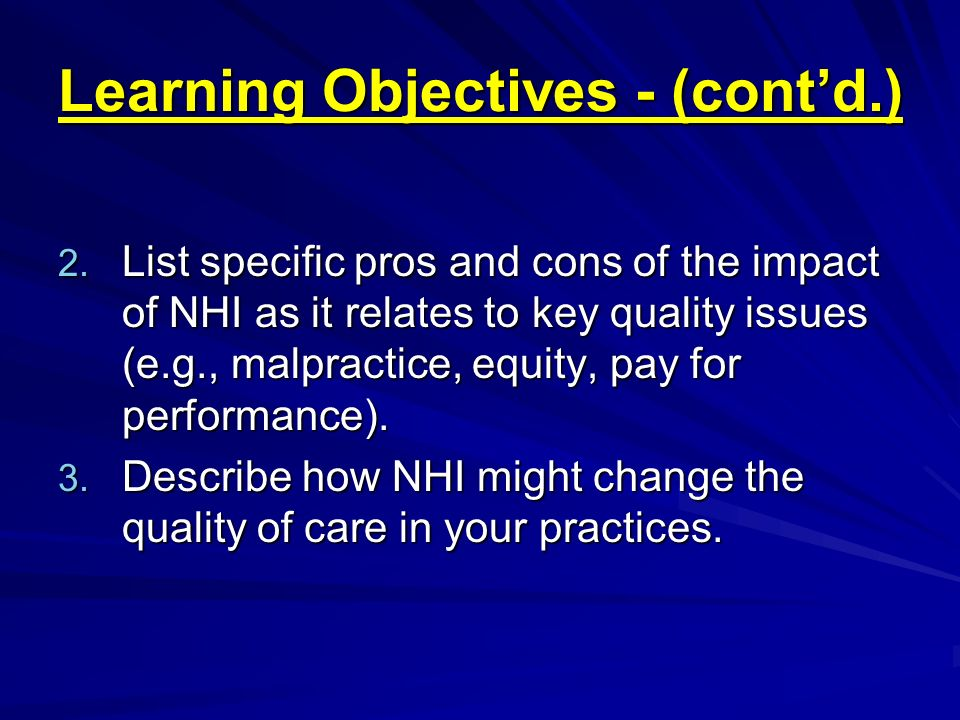 Learning Objectives - (cont'd.)