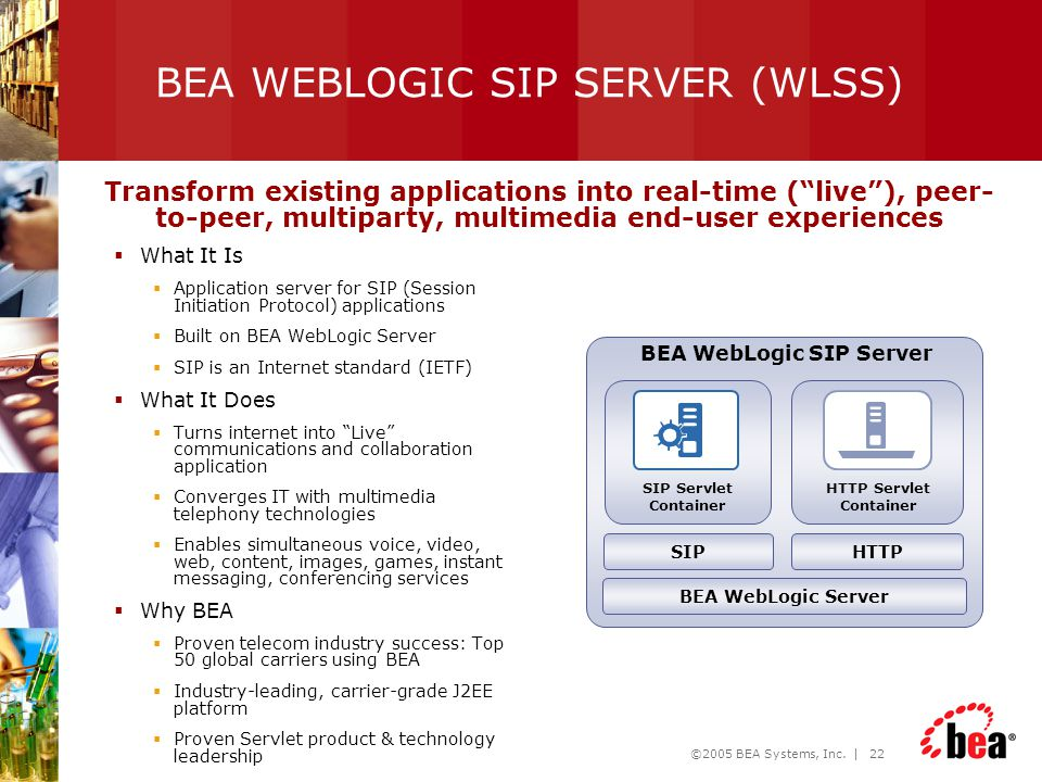 BEA WEBLOGIC SIP SERVER (WLSS)