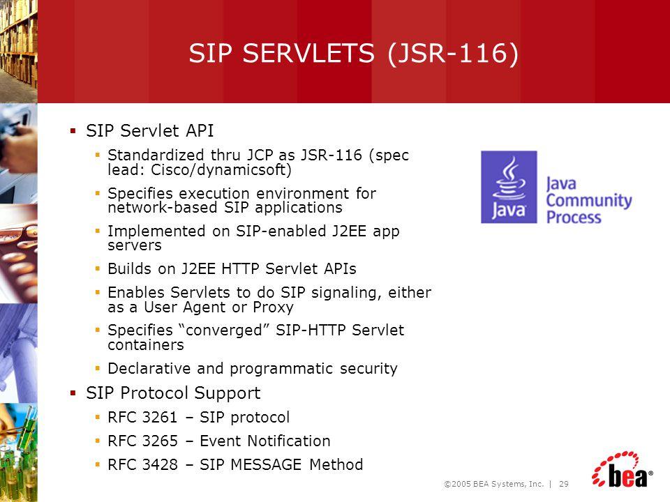 SIP SERVLETS (JSR-116) SIP Servlet API SIP Protocol Support