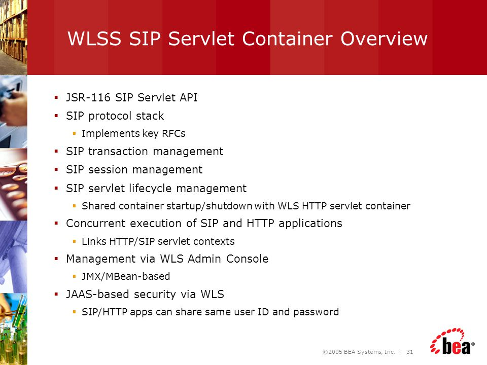 WLSS SIP Servlet Container Overview