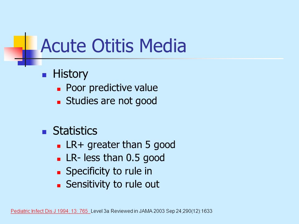 Acute Otitis Media History Statistics Poor predictive value