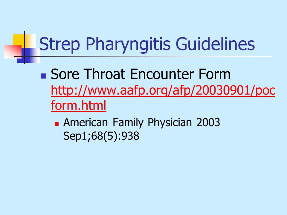 Strep Pharyngitis Guidelines
