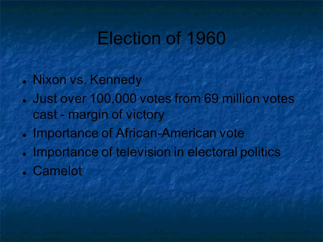 Election of 1960 Nixon vs. Kennedy