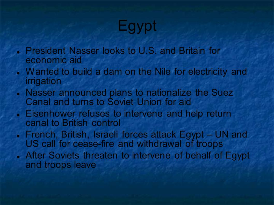 Egypt President Nasser looks to U.S. and Britain for economic aid