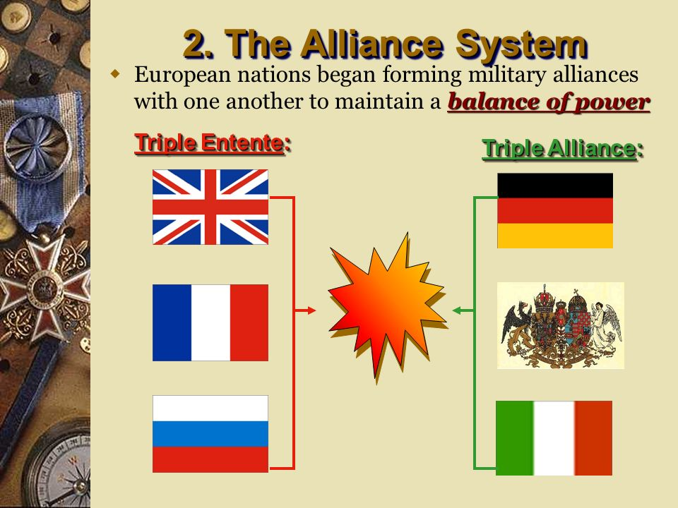 2. The Alliance System European nations began forming military alliances with one another to maintain a balance of power.