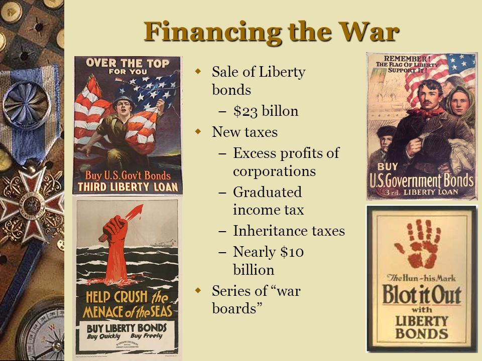 Financing the War Sale of Liberty bonds $23 billon New taxes