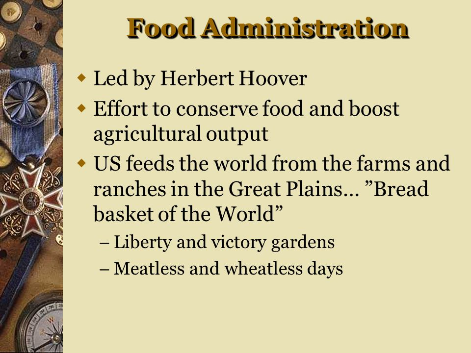 Food Administration Led by Herbert Hoover