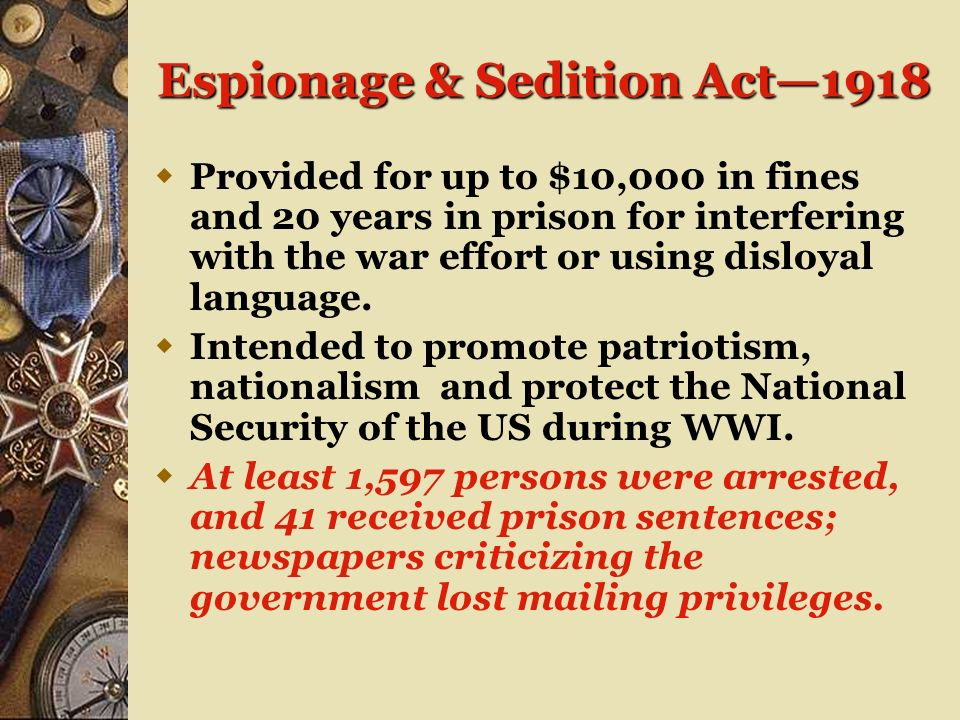 Espionage & Sedition Act—1918