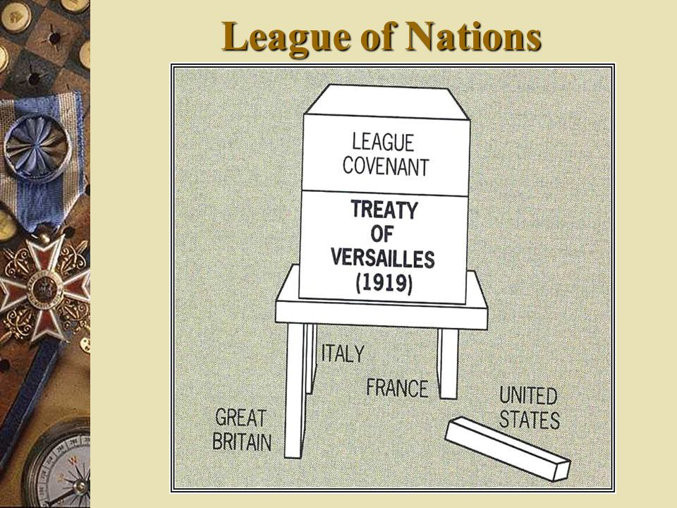 League of Nations Without the assistance of the of the United States the League of Nations was doomed to failure.