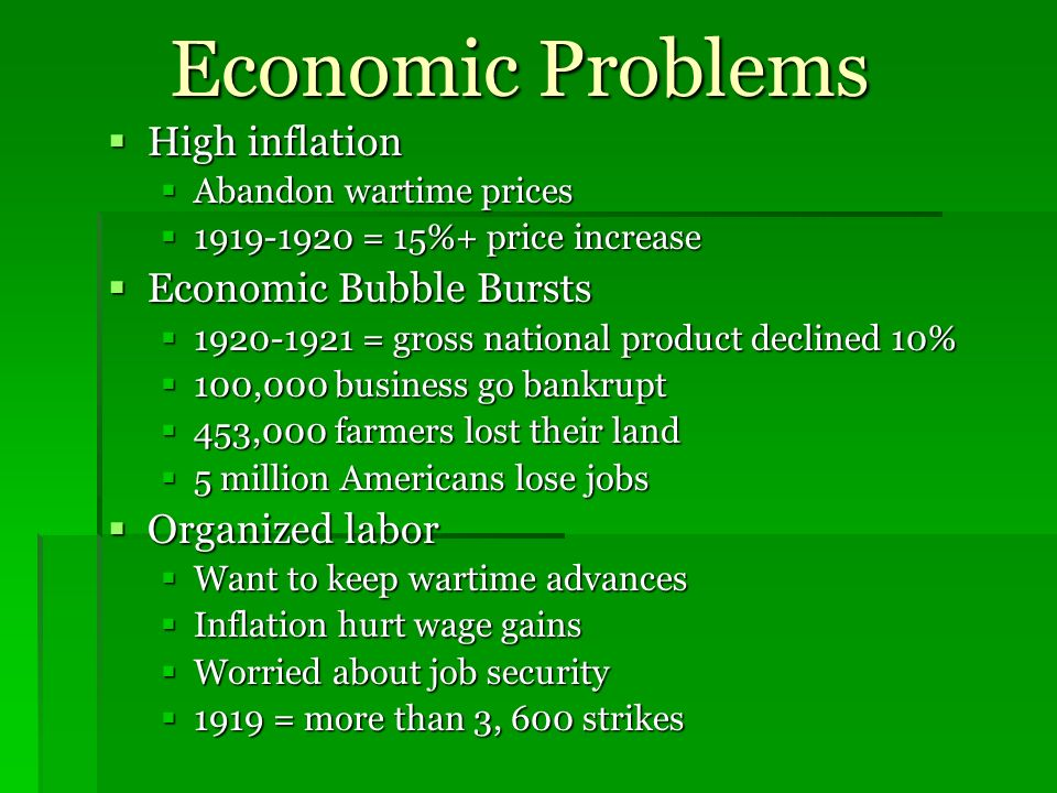 Economic Problems High inflation Economic Bubble Bursts