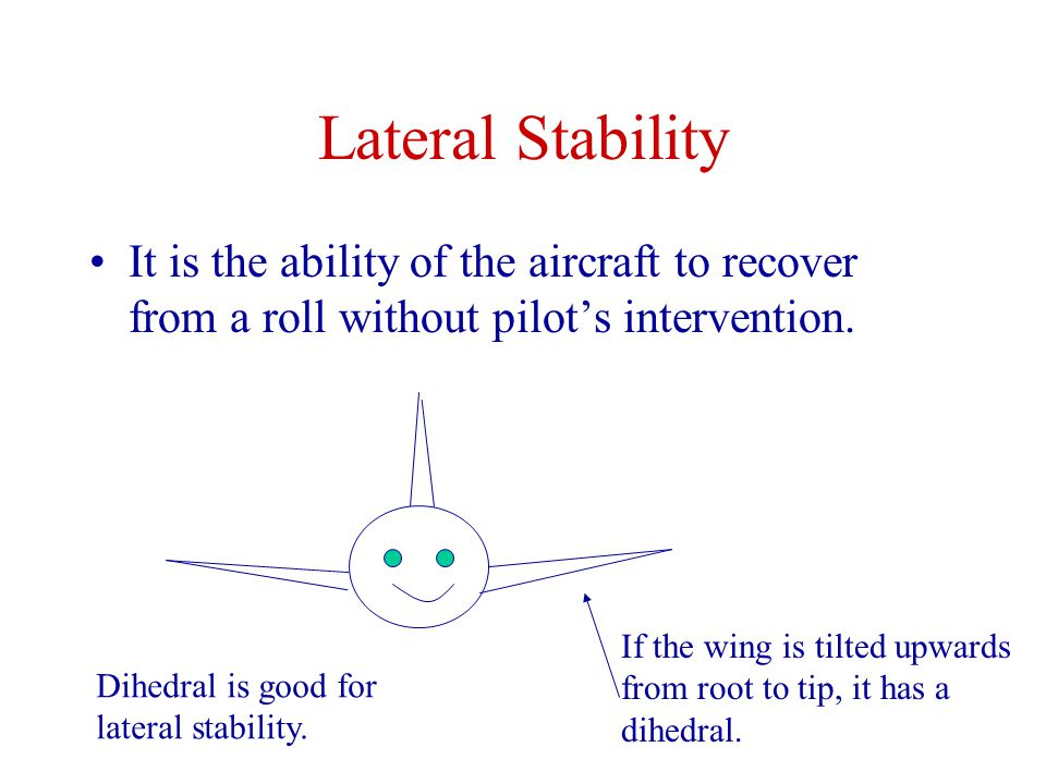 Lateral Stability It is the ability of the aircraft to recover from a roll without pilot's intervention.