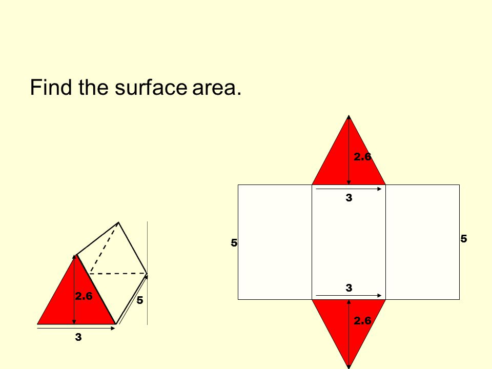 Find the surface area. 2.6 3 5 5 3 2.6 5 2.6 3
