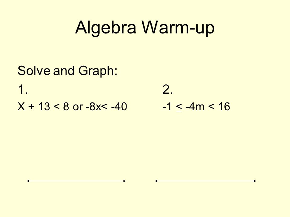 Algebra Warm-up Solve and Graph: 1. 2.