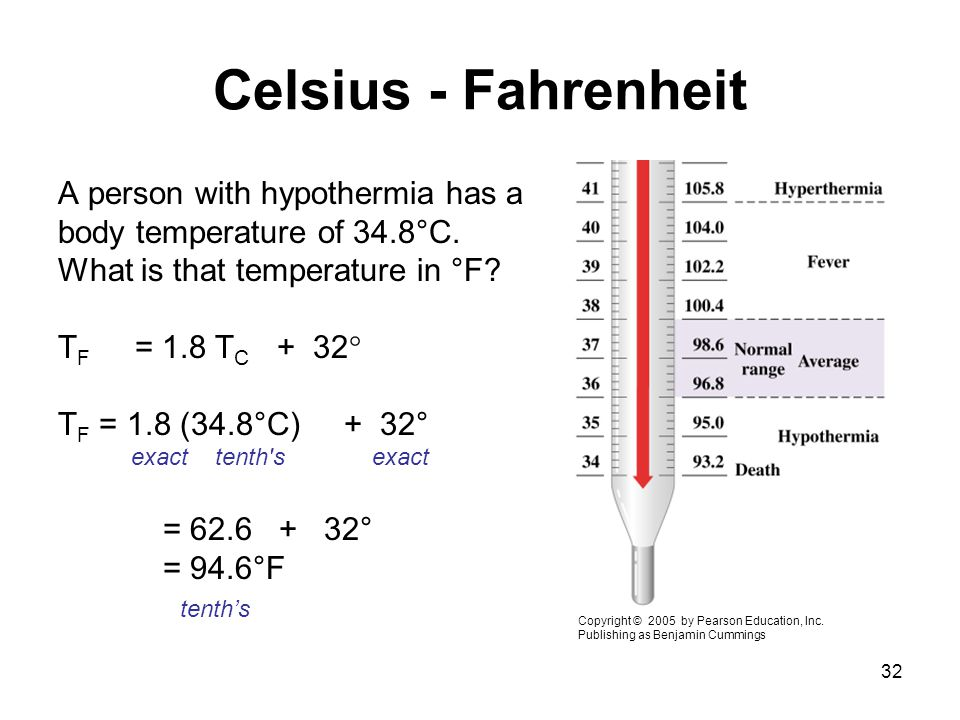 Celsius - Fahrenheit A person with hypothermia has a