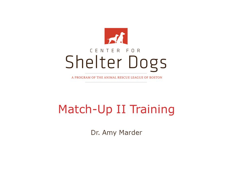 Match-Up II Training Dr. Amy Marder