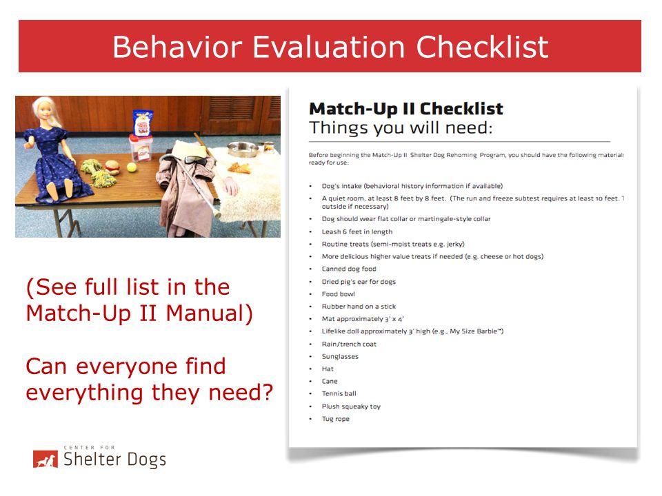 Behavior Evaluation Checklist