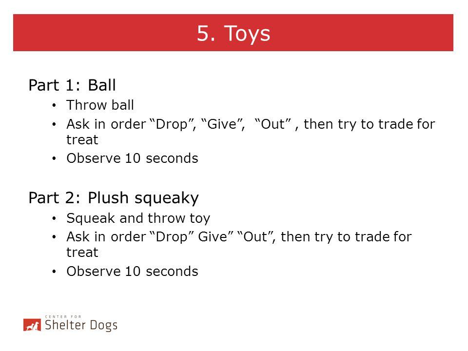 5. Toys Part 1: Ball Part 2: Plush squeaky Throw ball