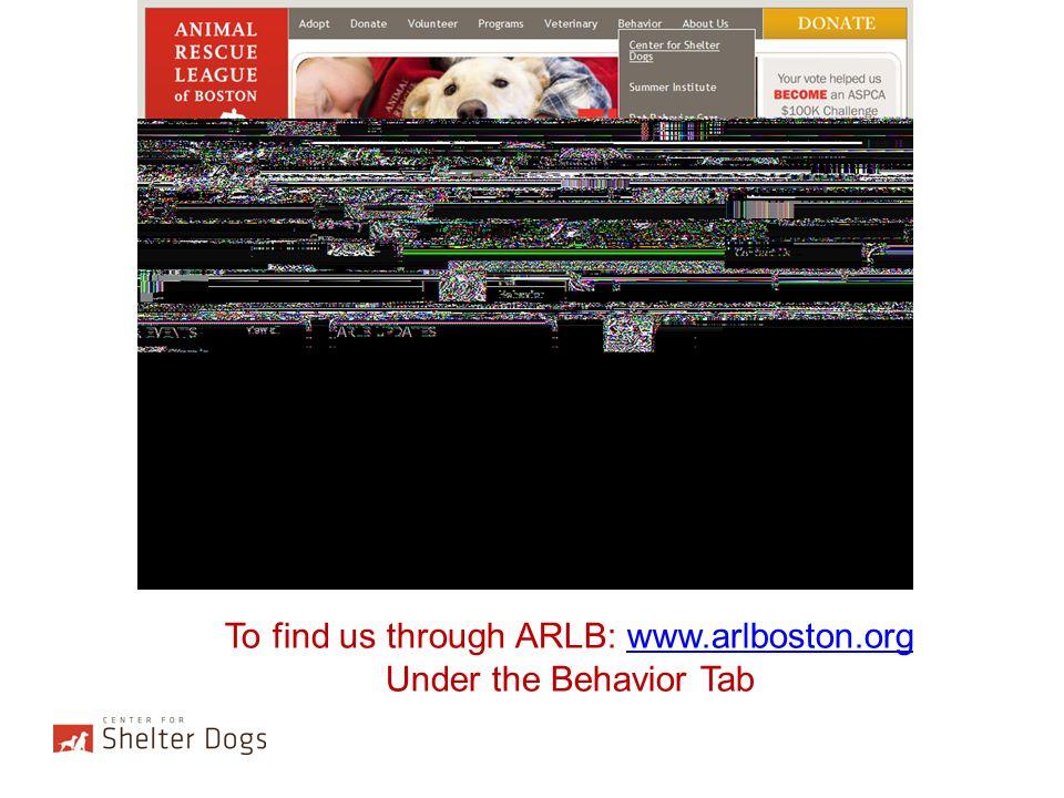 To find us through ARLB: www.arlboston.org