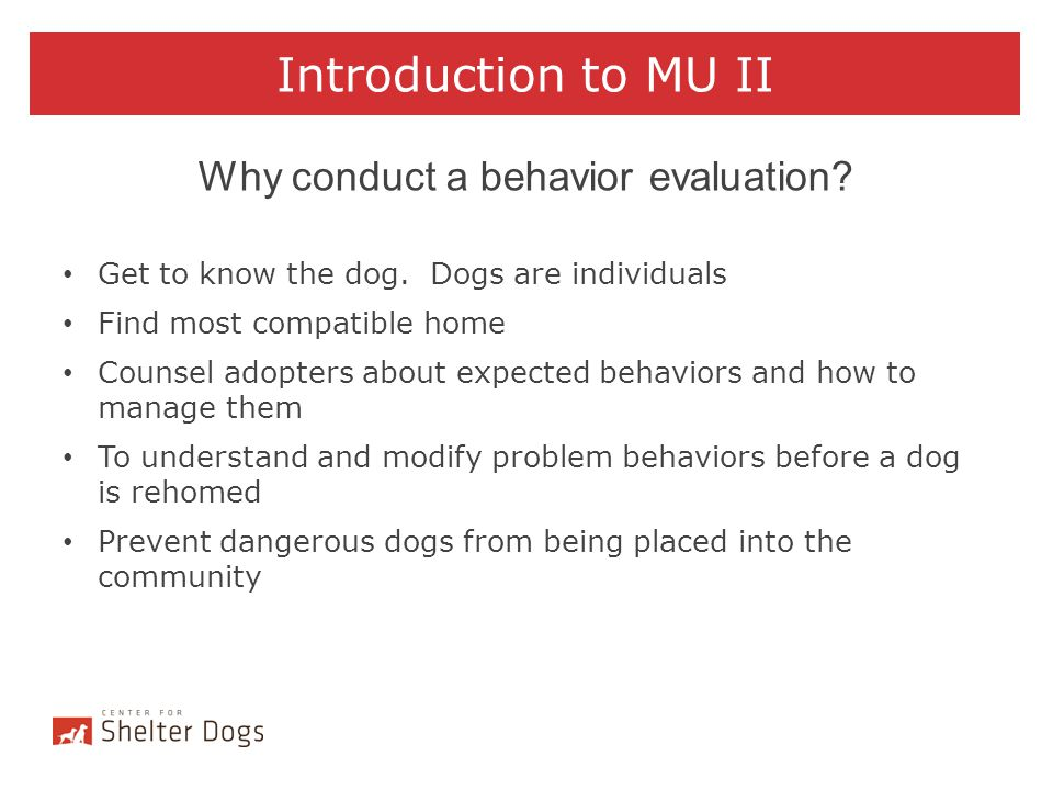 Why conduct a behavior evaluation
