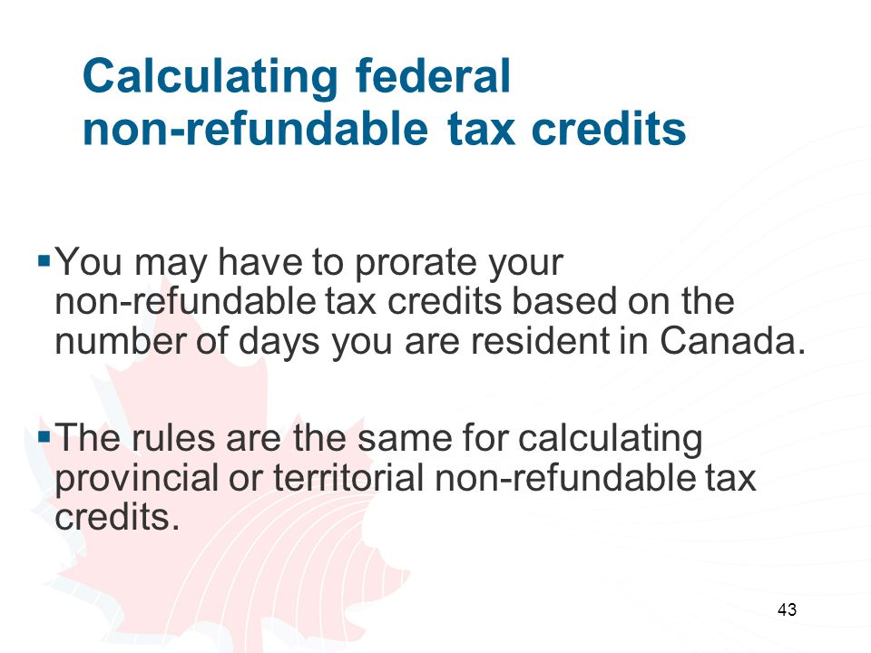 Calculating federal non-refundable tax credits