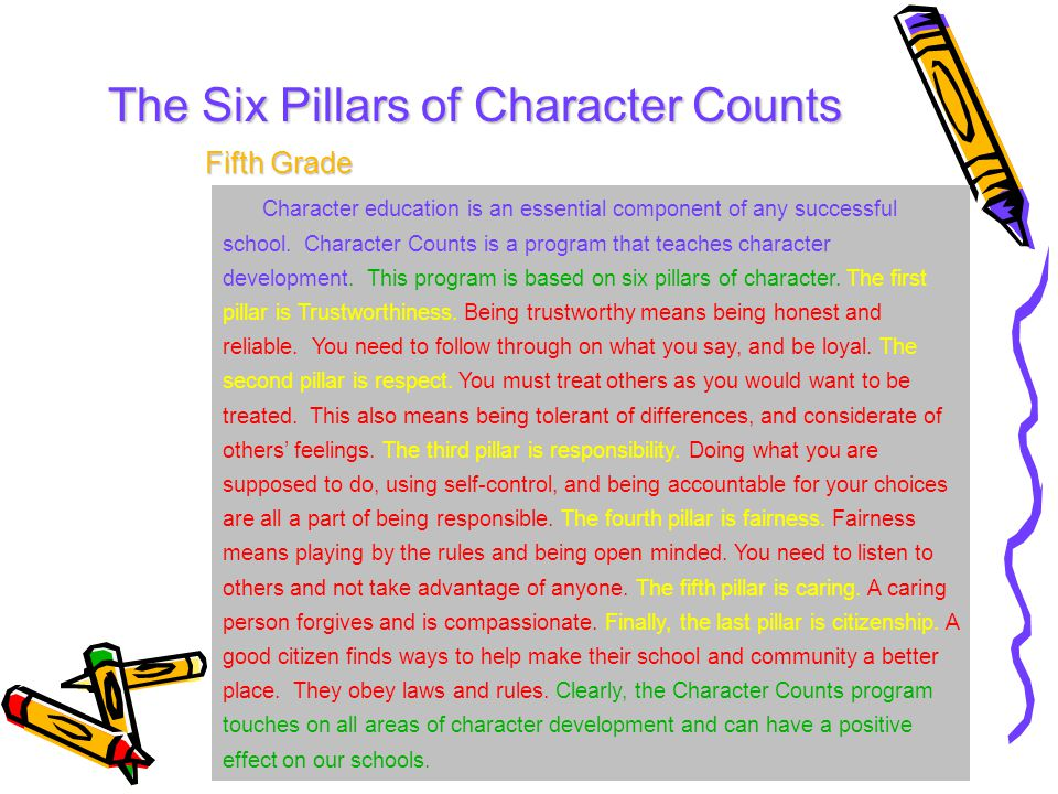 essay character count 2014 - 5th annual six-pillar essay contest award winning essays public and private schools elementary schools – why i like character counts 2nd grade – 1st place.