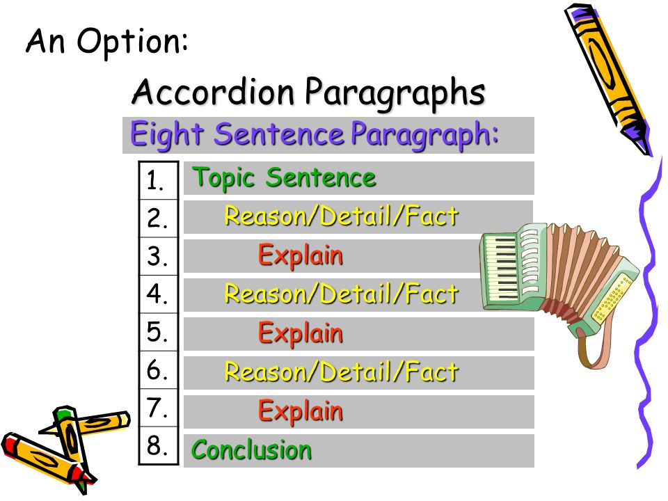 Accordion Paragraphs An Option: Eight Sentence Paragraph: 1. 2. 3. 4.