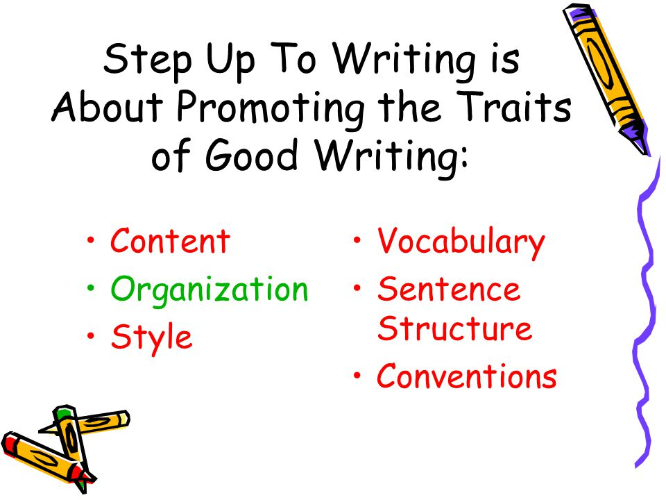 Step Up To Writing is About Promoting the Traits of Good Writing: