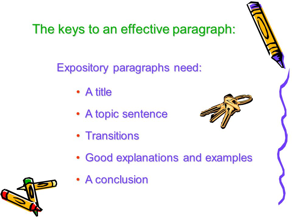 The keys to an effective paragraph: