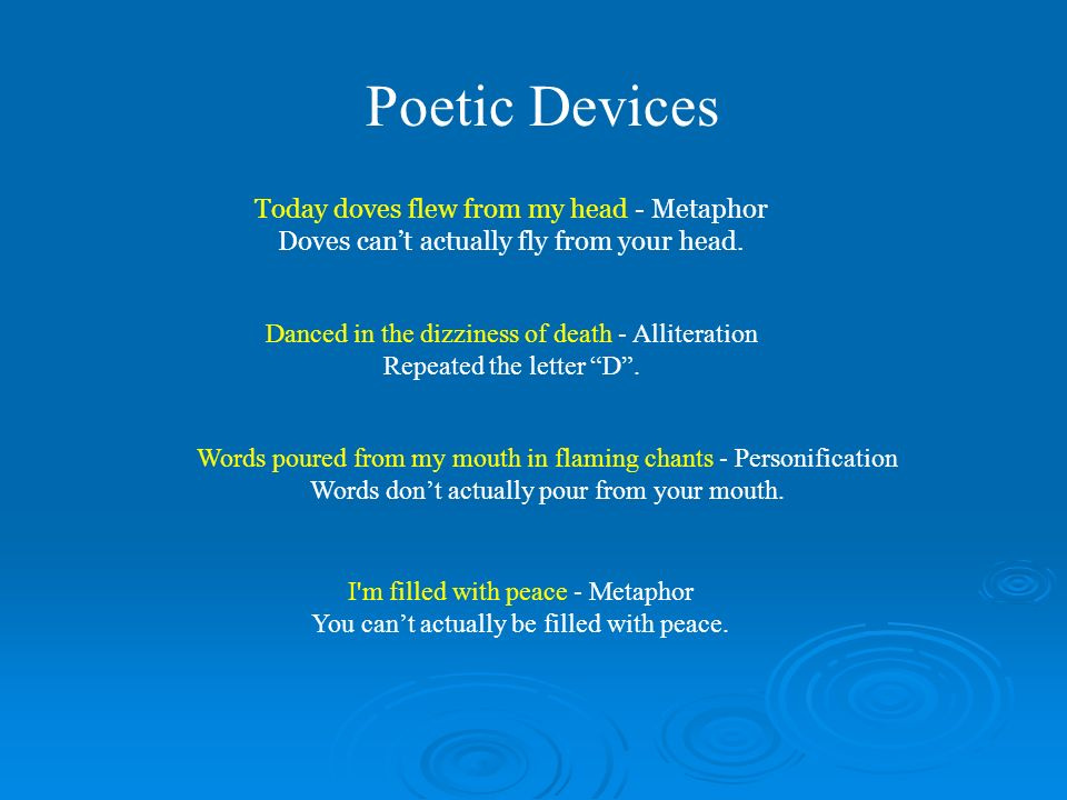 Poetic Devices Today doves flew from my head - Metaphor