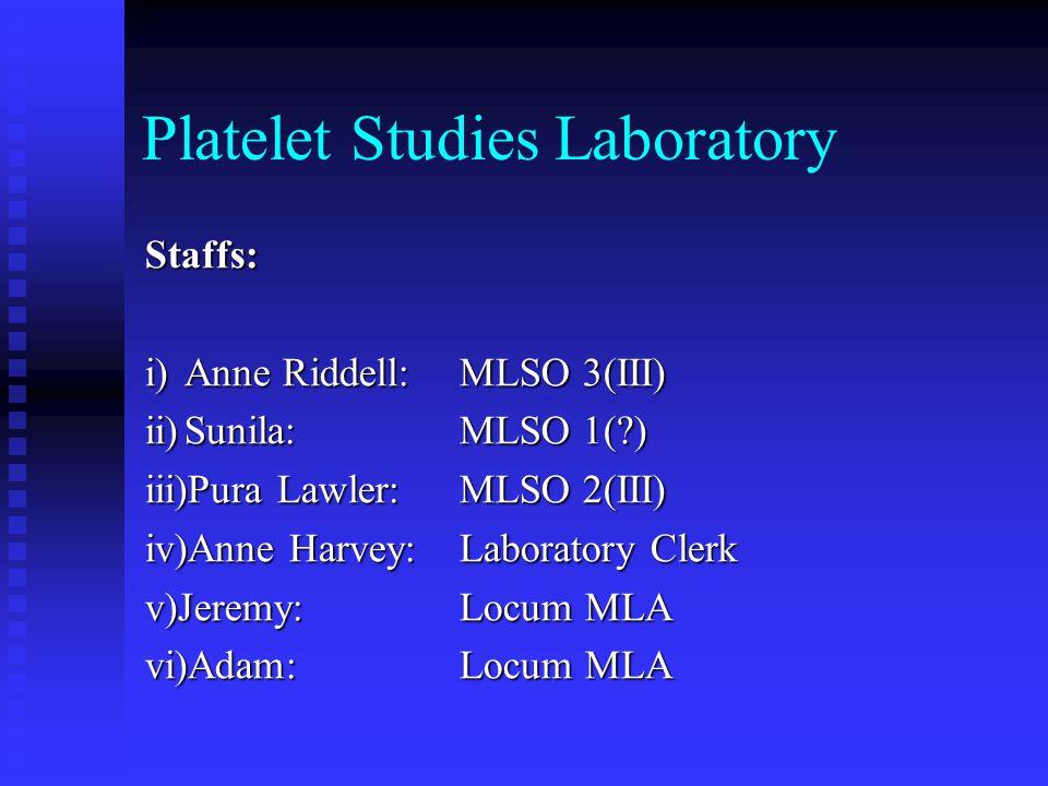 Platelet Studies Laboratory