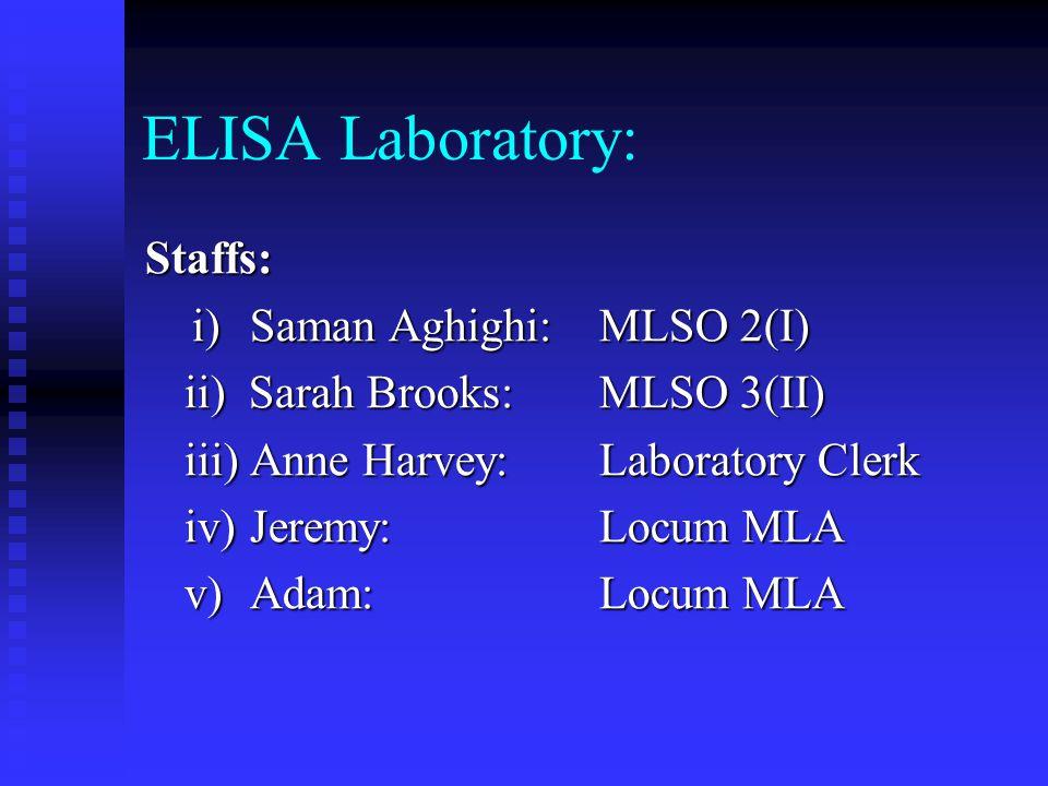 ELISA Laboratory: Staffs: i) Saman Aghighi: MLSO 2(I)