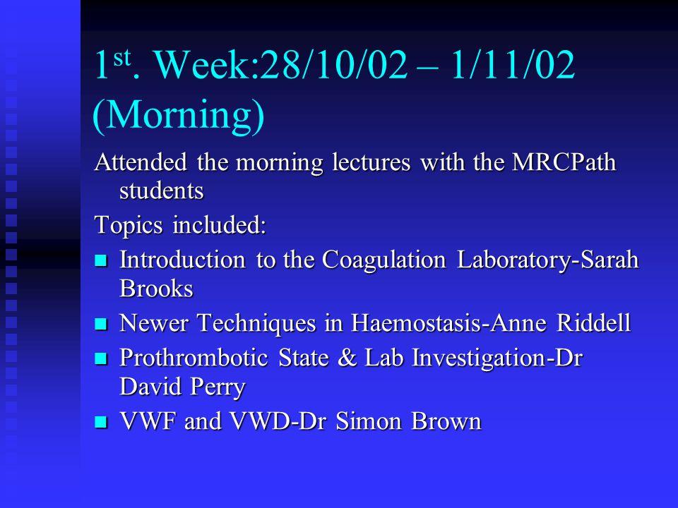 1st. Week:28/10/02 – 1/11/02 (Morning)