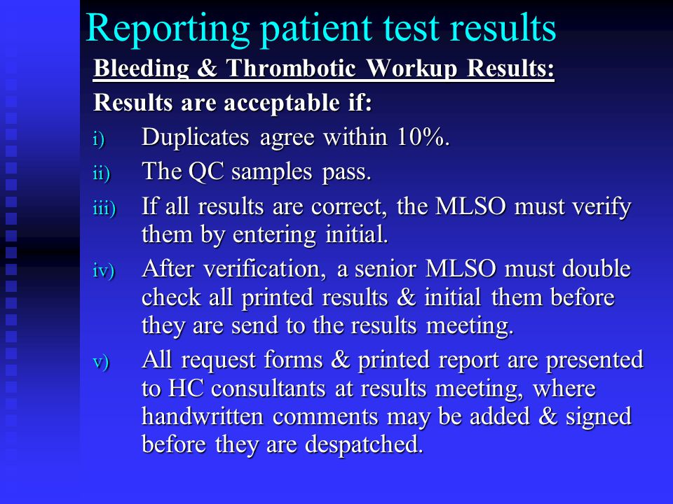Reporting patient test results