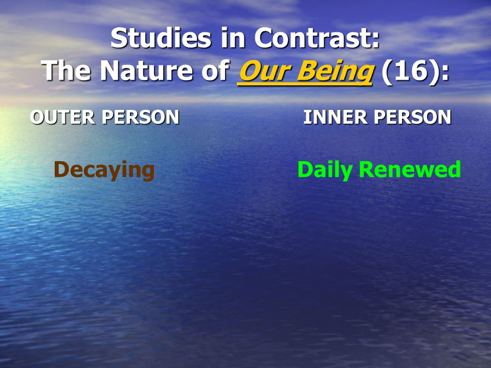 Studies in Contrast: The Nature of Our Being (16):