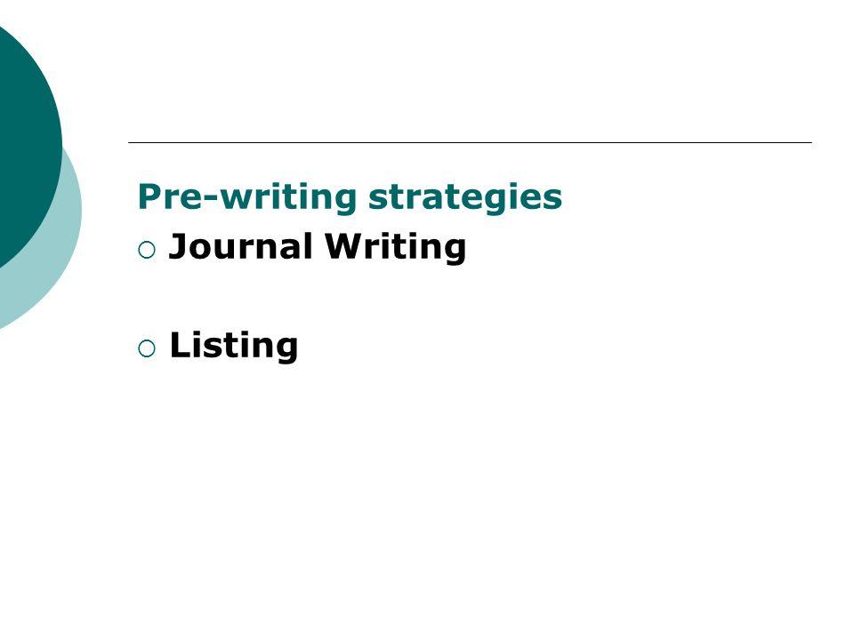 Pre-writing strategies Journal Writing Listing