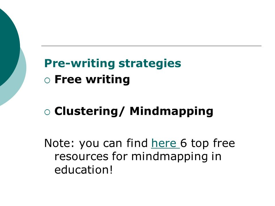 Pre-writing strategies Free writing Clustering/ Mindmapping
