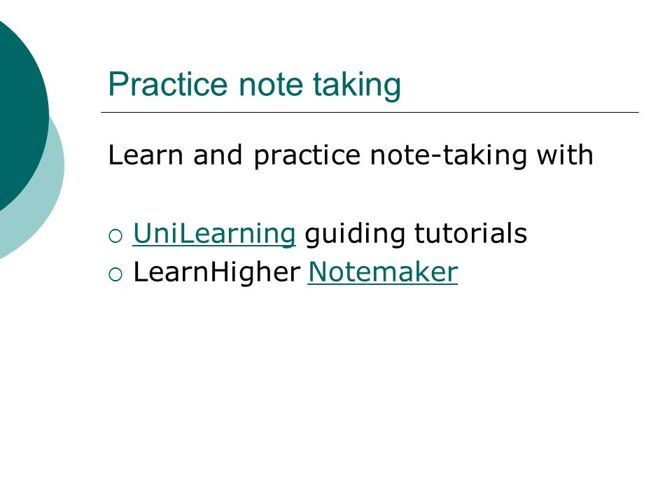 Practice note taking Learn and practice note-taking with