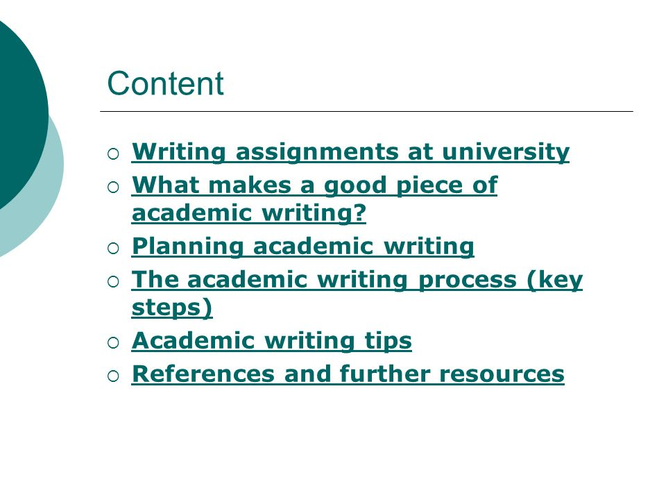Content Writing assignments at university