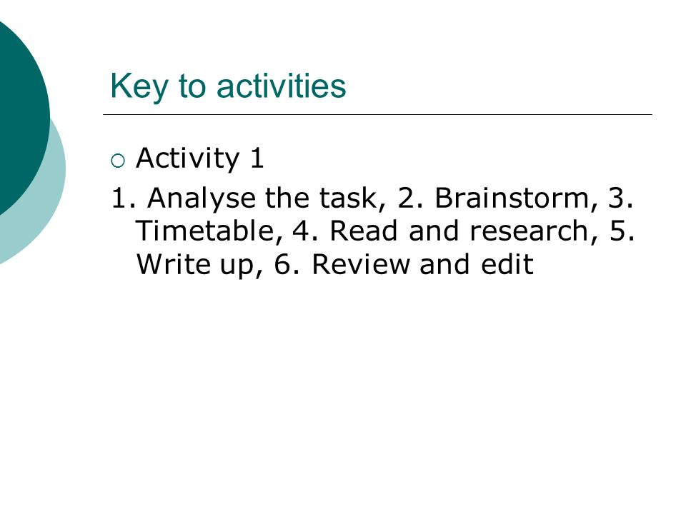 Key to activities Activity 1