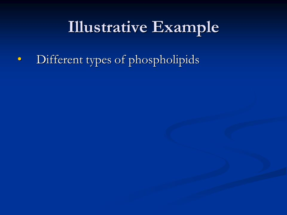 Illustrative Example Different types of phospholipids