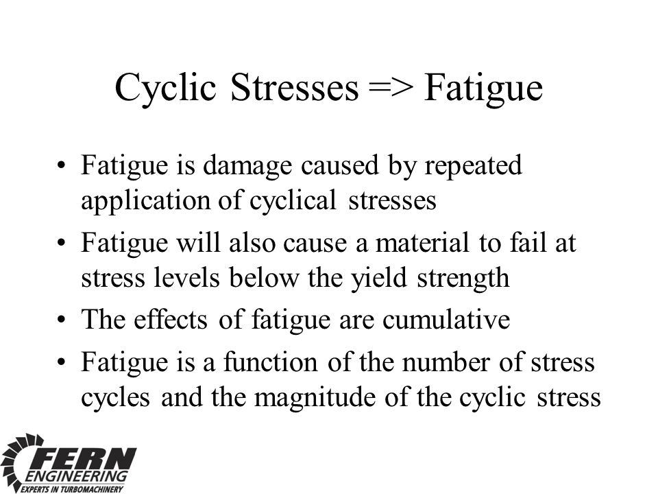 Cyclic Stresses => Fatigue