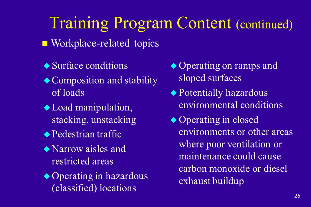 Training Program Content (continued)