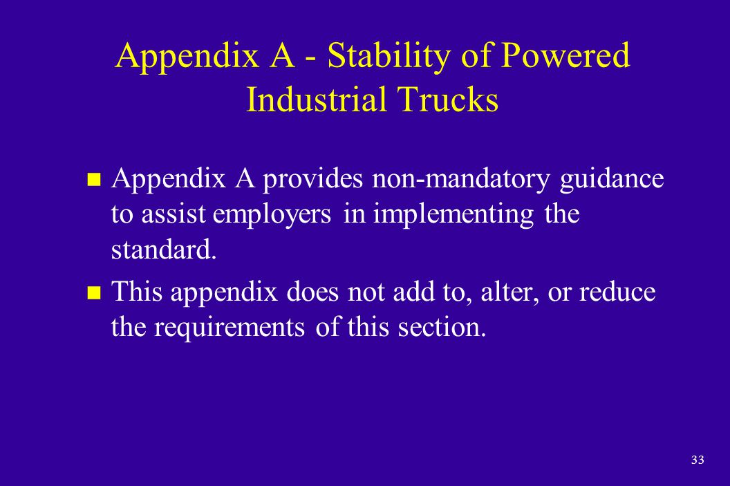 Appendix A - Stability of Powered Industrial Trucks