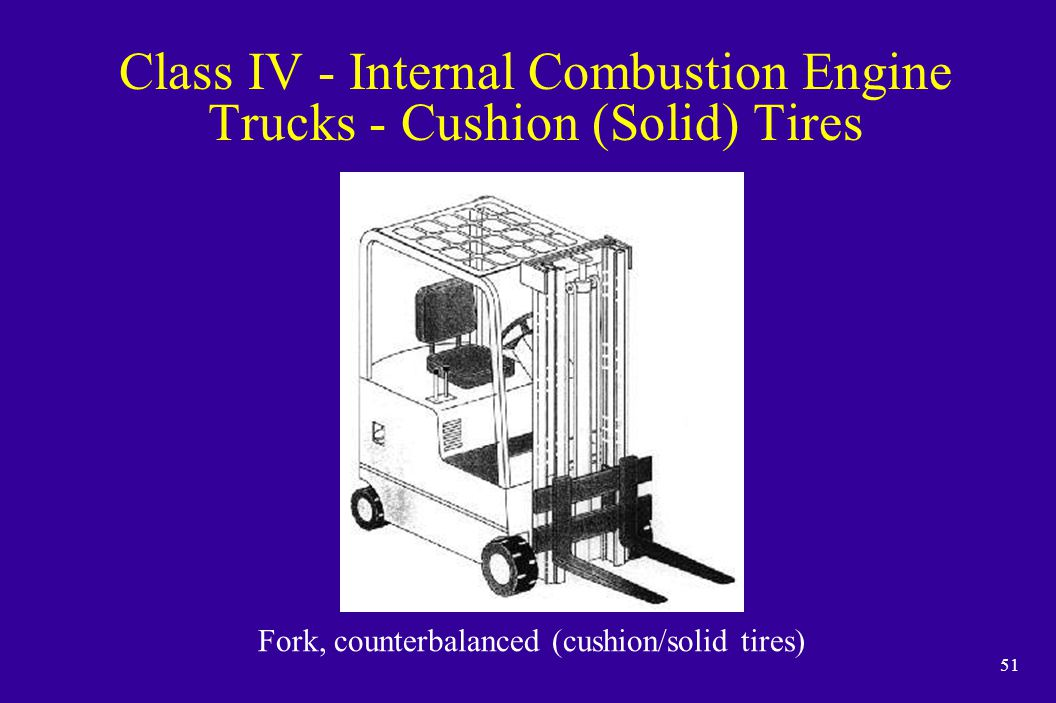 Class IV - Internal Combustion Engine Trucks - Cushion (Solid) Tires