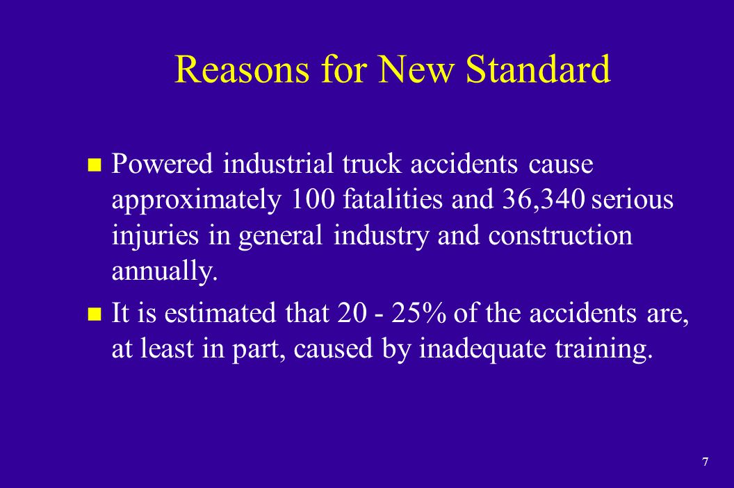 Reasons for New Standard